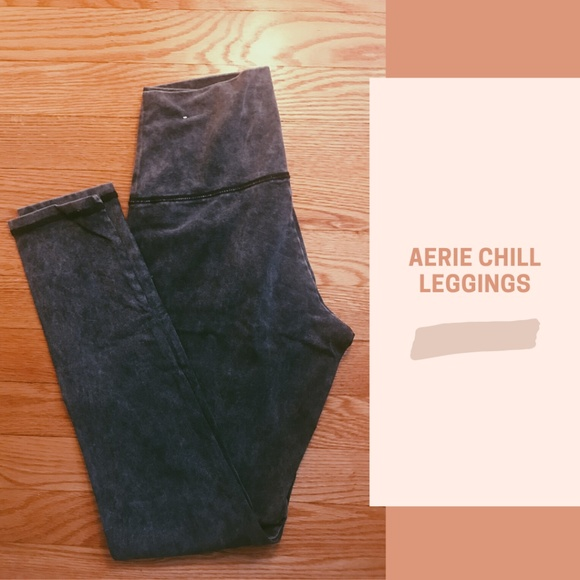 Aerie Chill Leggings - Charcoal Grey Acid Wash